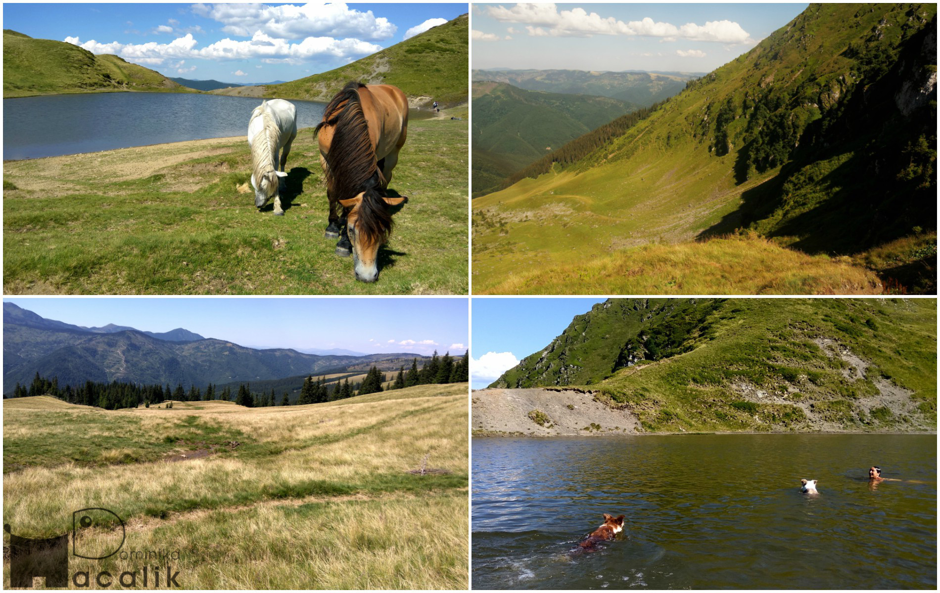 Najlepsza nagroda - po długiej drodze w upalnym słońcu znajdujemy jeziorko na przełęczy