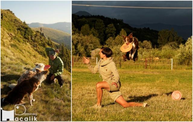 Wakacje z psem nie zwalniają nas z treningów - na zdjęciu Dominika trenuje dogfrisbee w górskiej scenerii z Bletką i Punky